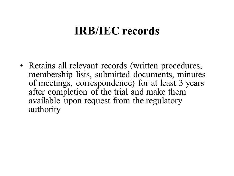 IRB/IEC records