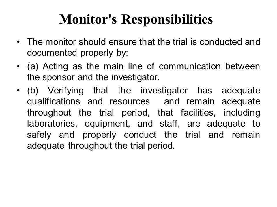 Monitor s Responsibilities