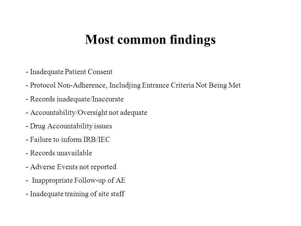 Most common findings - Inadequate Patient Consent