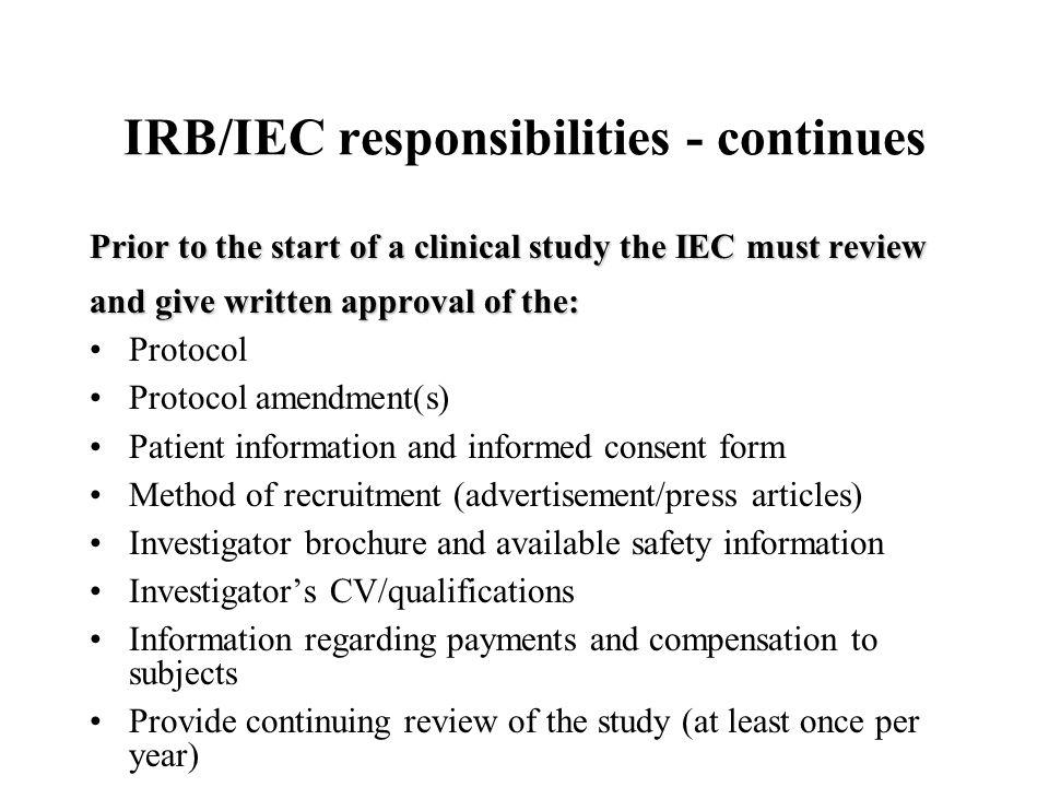 IRB/IEC responsibilities - continues