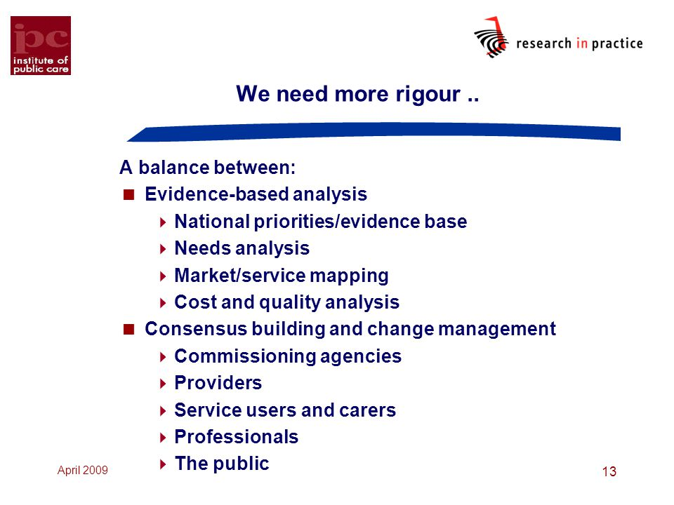We need more rigour .. A balance between: Evidence-based analysis