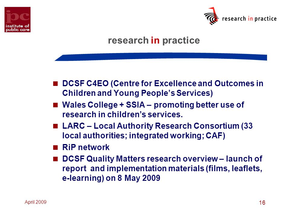 research in practice DCSF C4EO (Centre for Excellence and Outcomes in Children and Young People's Services)