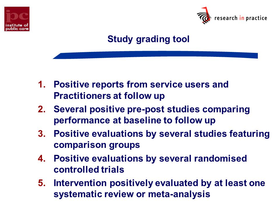 Study grading tool Positive reports from service users and Practitioners at follow up.