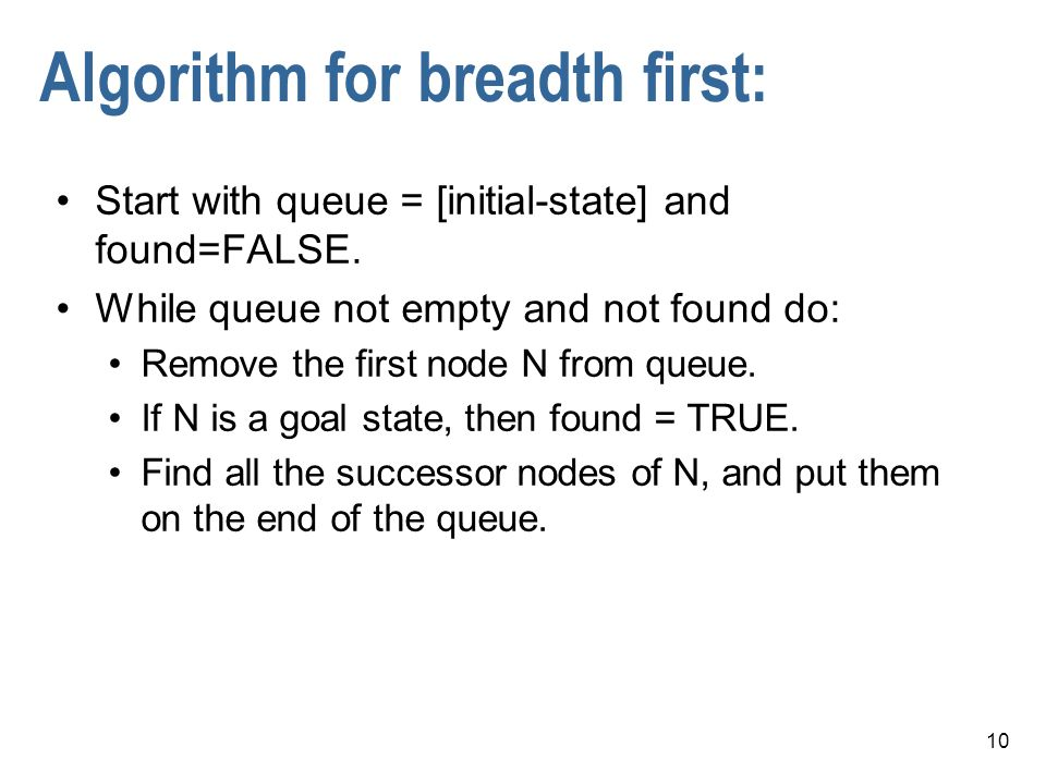 Algorithm for breadth first:
