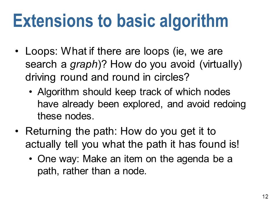 Extensions to basic algorithm