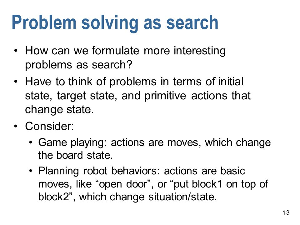 Problem solving as search