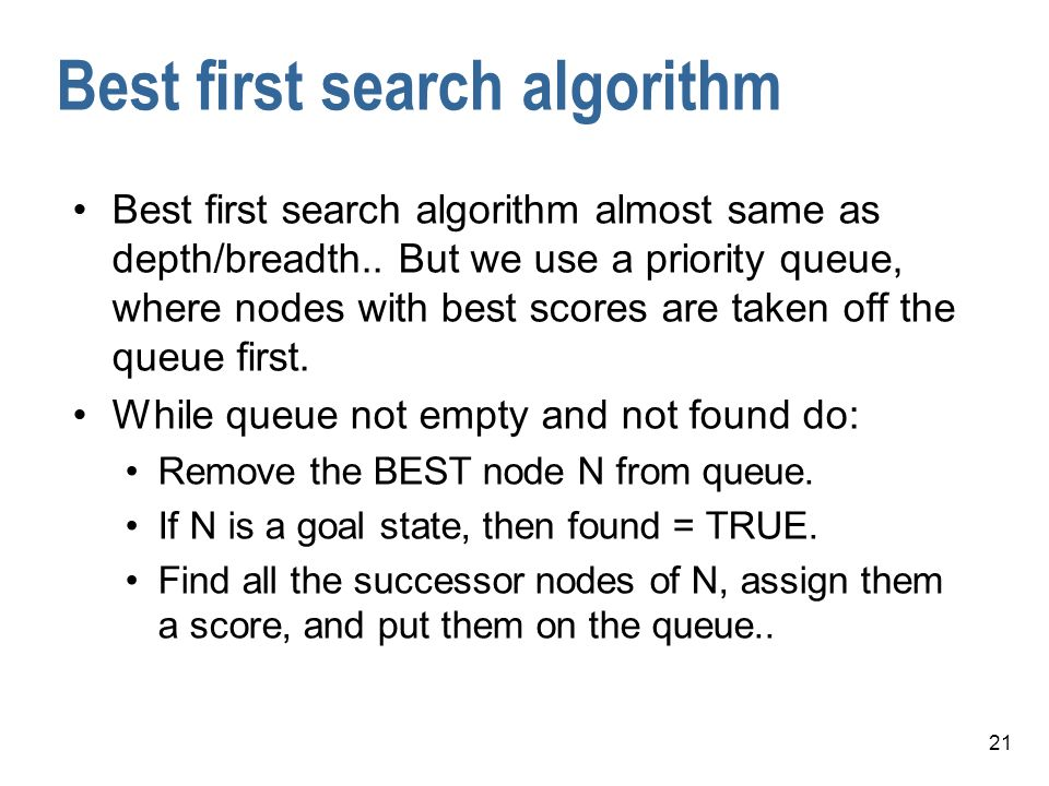 Best first search algorithm