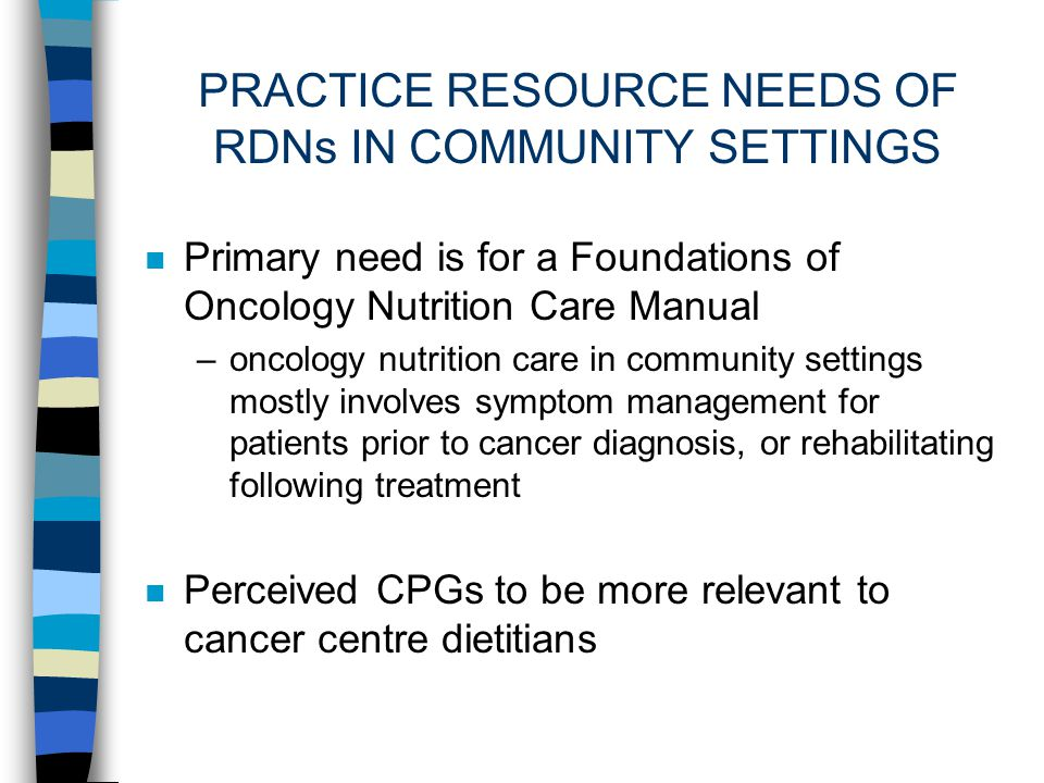 PRACTICE RESOURCE NEEDS OF RDNs IN COMMUNITY SETTINGS