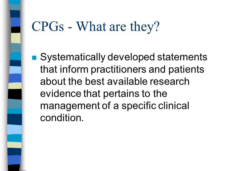 CPGs - What are they