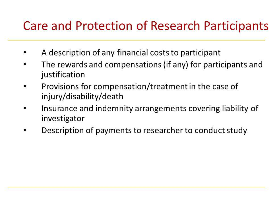 Care and Protection of Research Participants