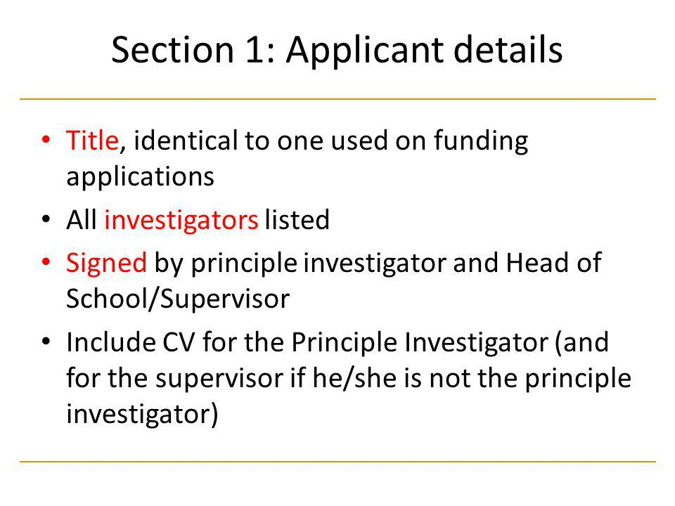 Section 1: Applicant details