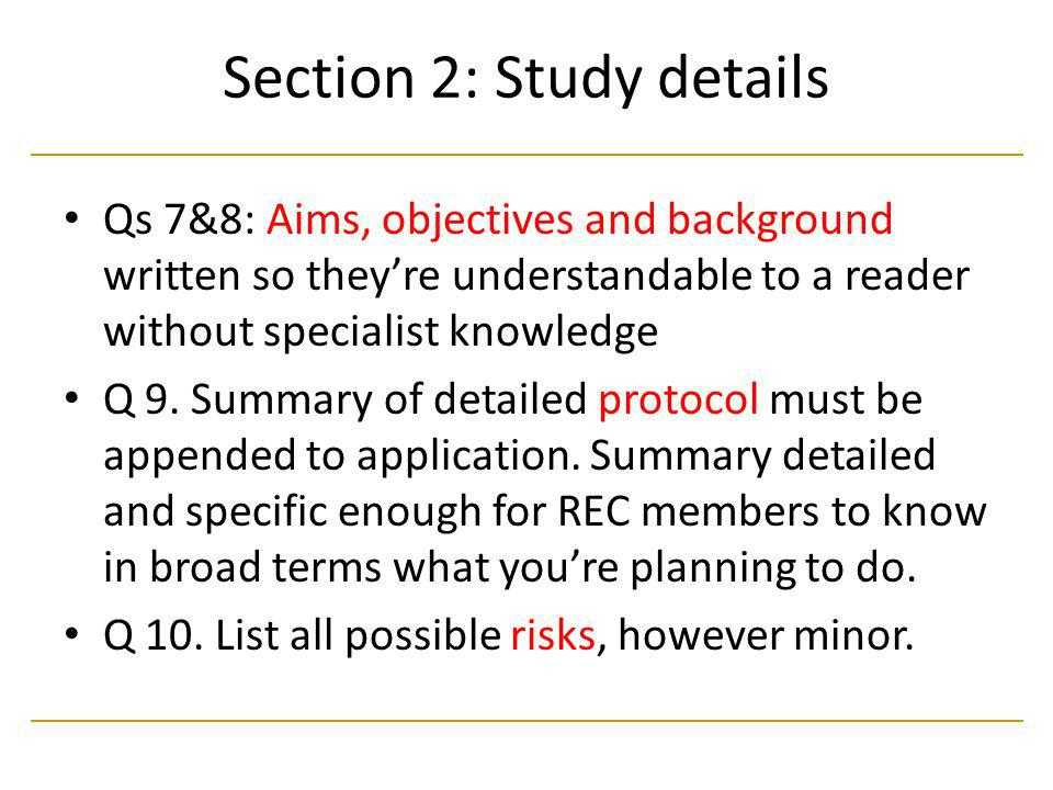 Section 2: Study details
