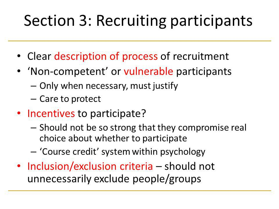 Section 3: Recruiting participants