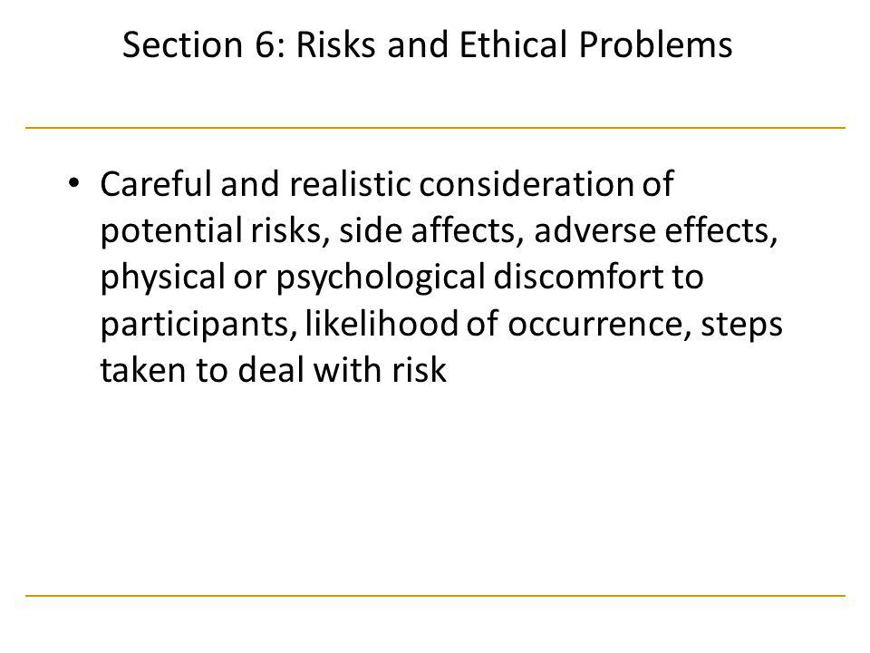 Section 6: Risks and Ethical Problems