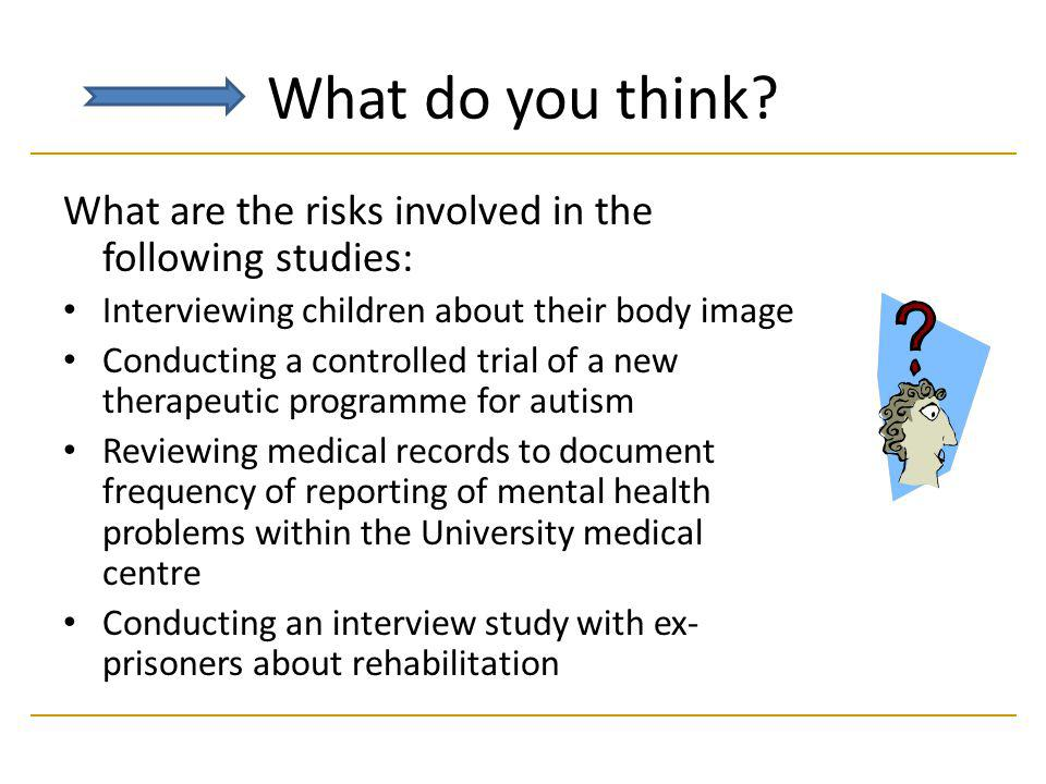 What do you think What are the risks involved in the following studies: Interviewing children about their body image.
