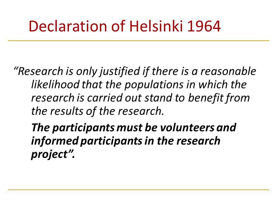 Declaration of Helsinki 1964