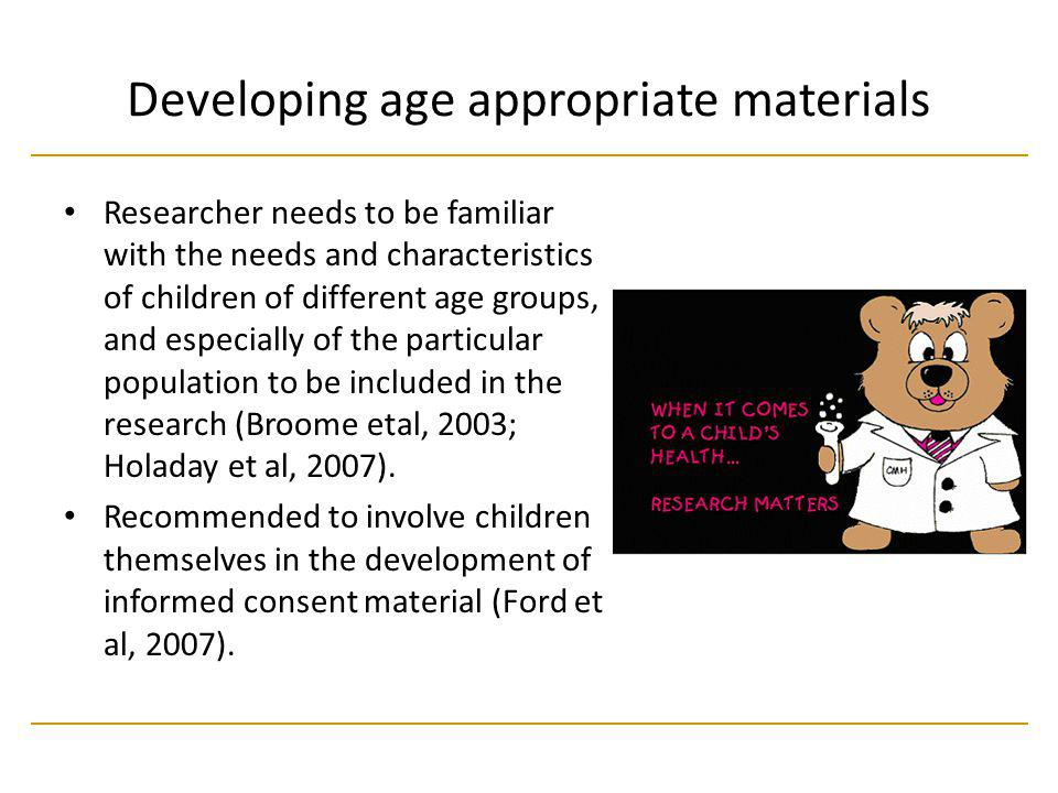 Developing age appropriate materials