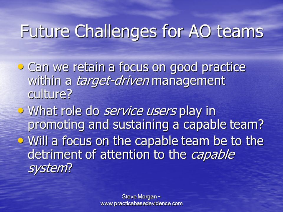 Future Challenges for AO teams