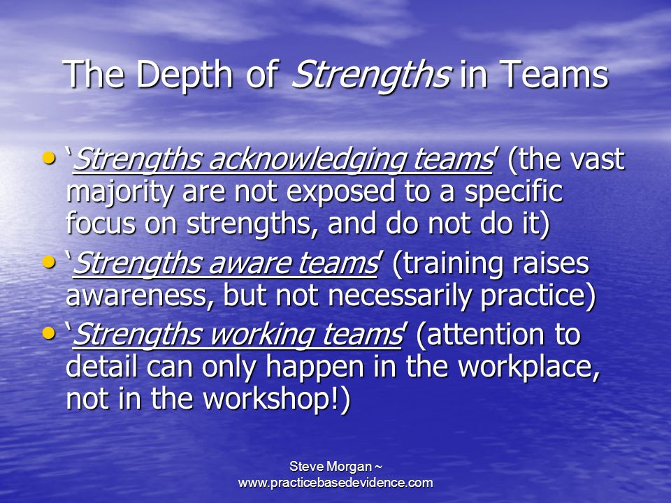 The Depth of Strengths in Teams