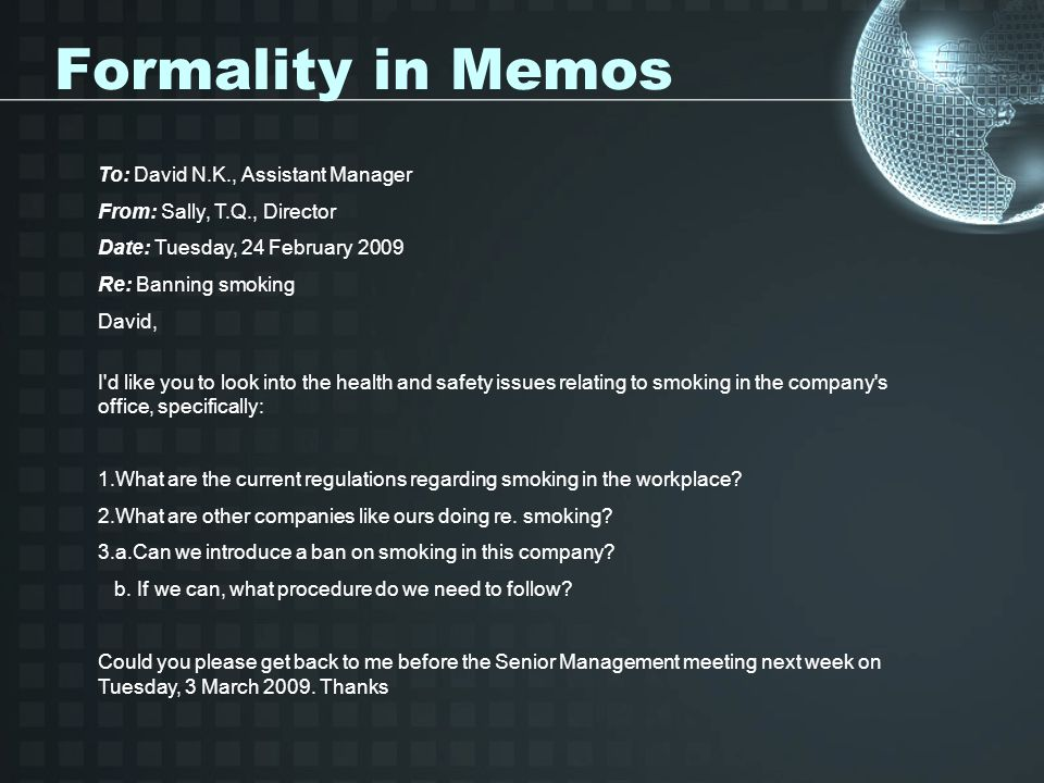 Formality in Memos To: David N.K., Assistant Manager