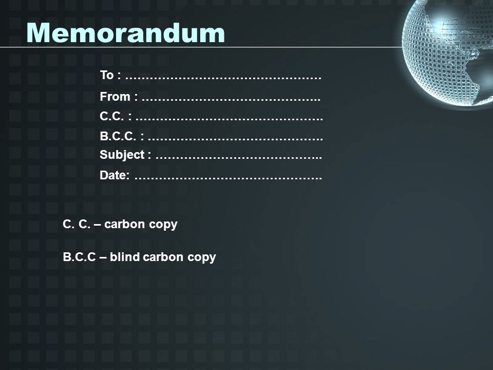 Memorandum To : ………………………………………… From : ……………………………………..