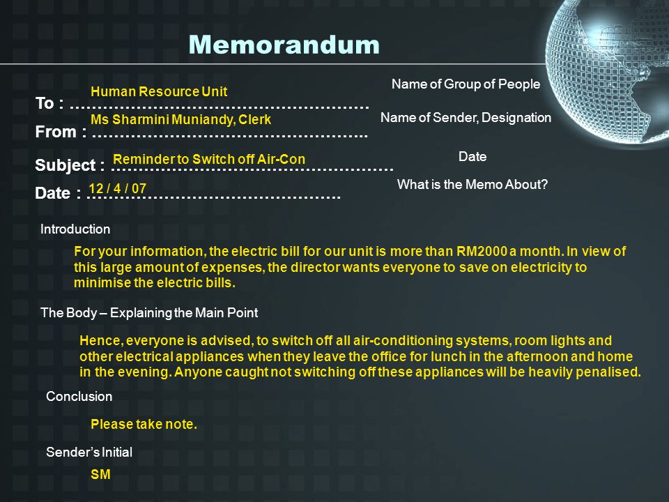 Memorandum To : ……………………………………………… From : …………………………………………..
