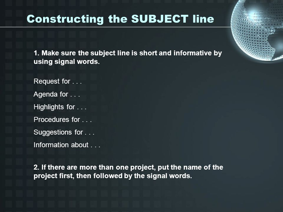 Constructing the SUBJECT line