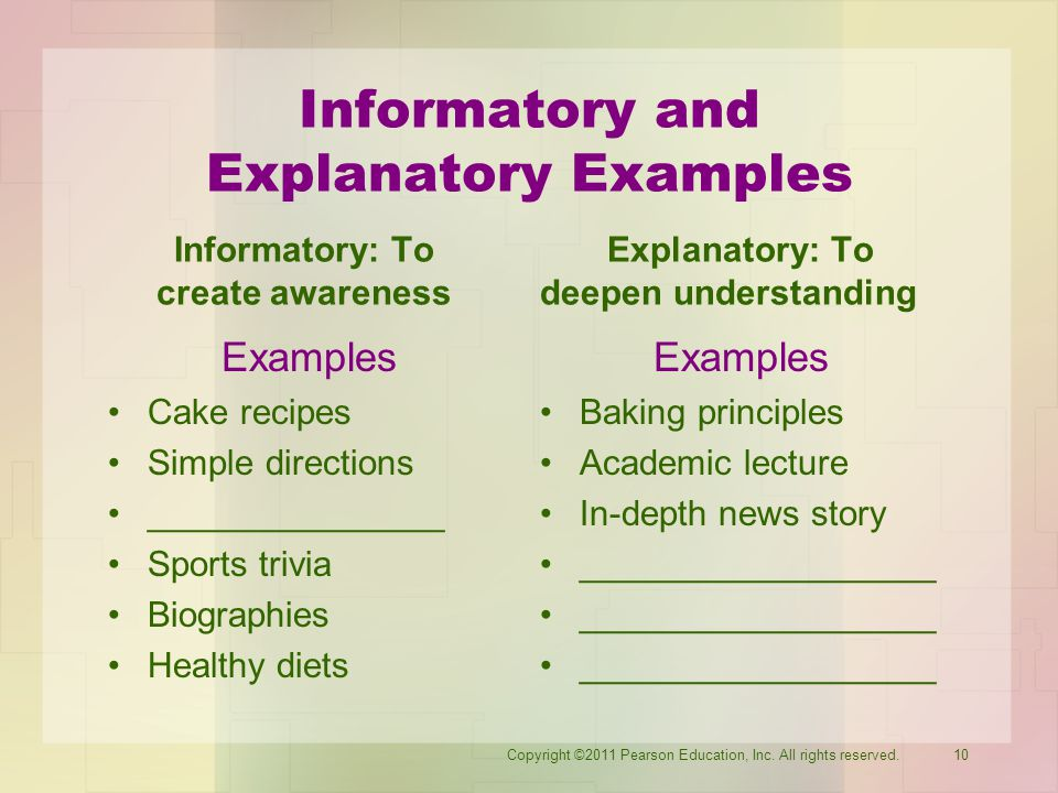 Informatory and Explanatory Examples