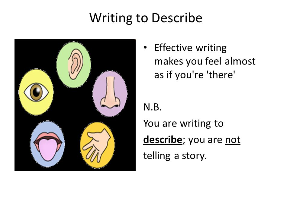 Writing to Describe Effective writing makes you feel almost as if you re there N.B. You are writing to.