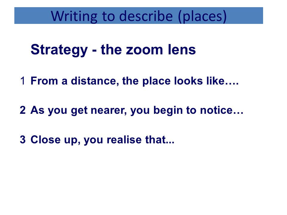 Writing to describe (places)