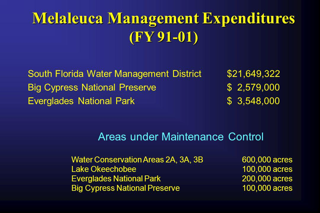 Melaleuca Management Expenditures (FY 91-01)