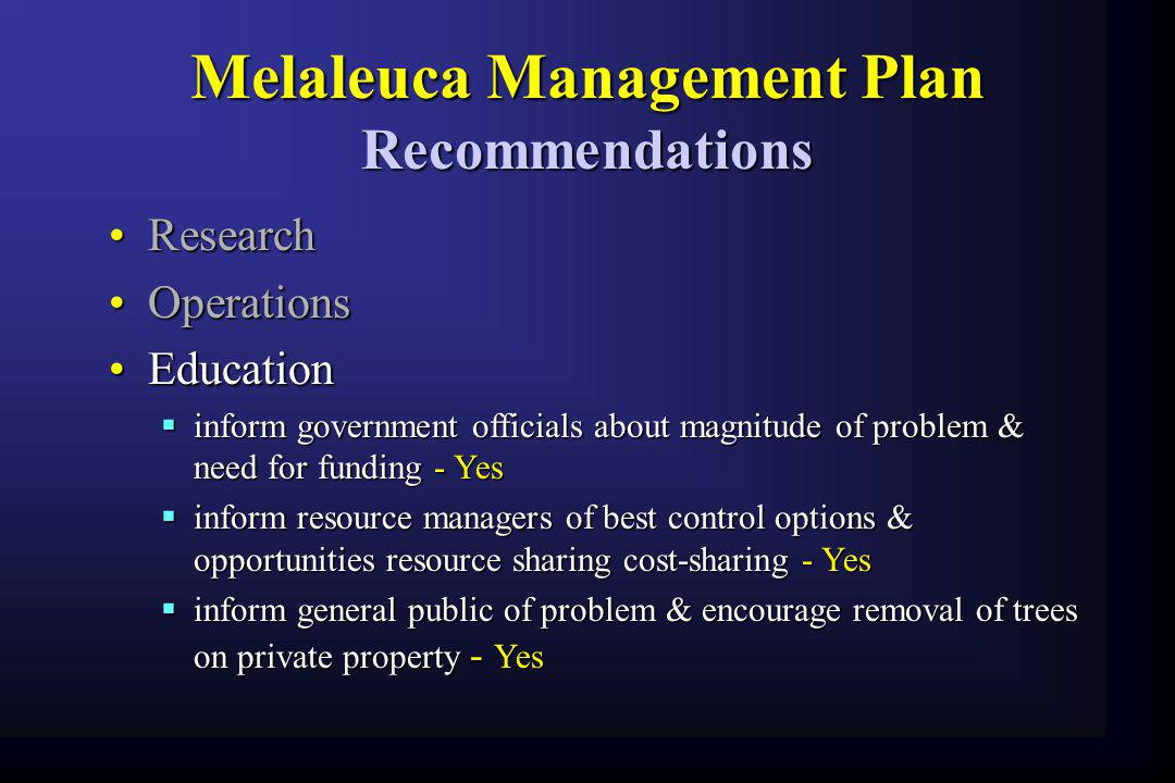 Melaleuca Management Plan Recommendations