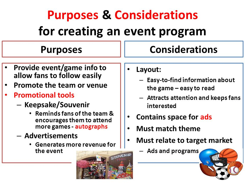 Purposes & Considerations for creating an event program