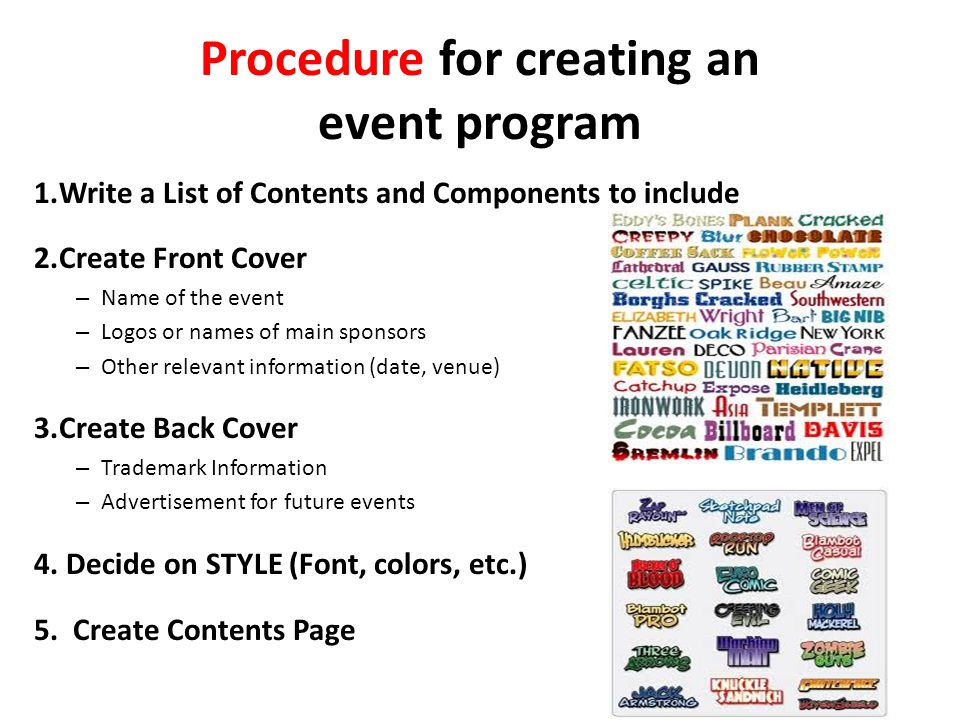 Procedure for creating an event program