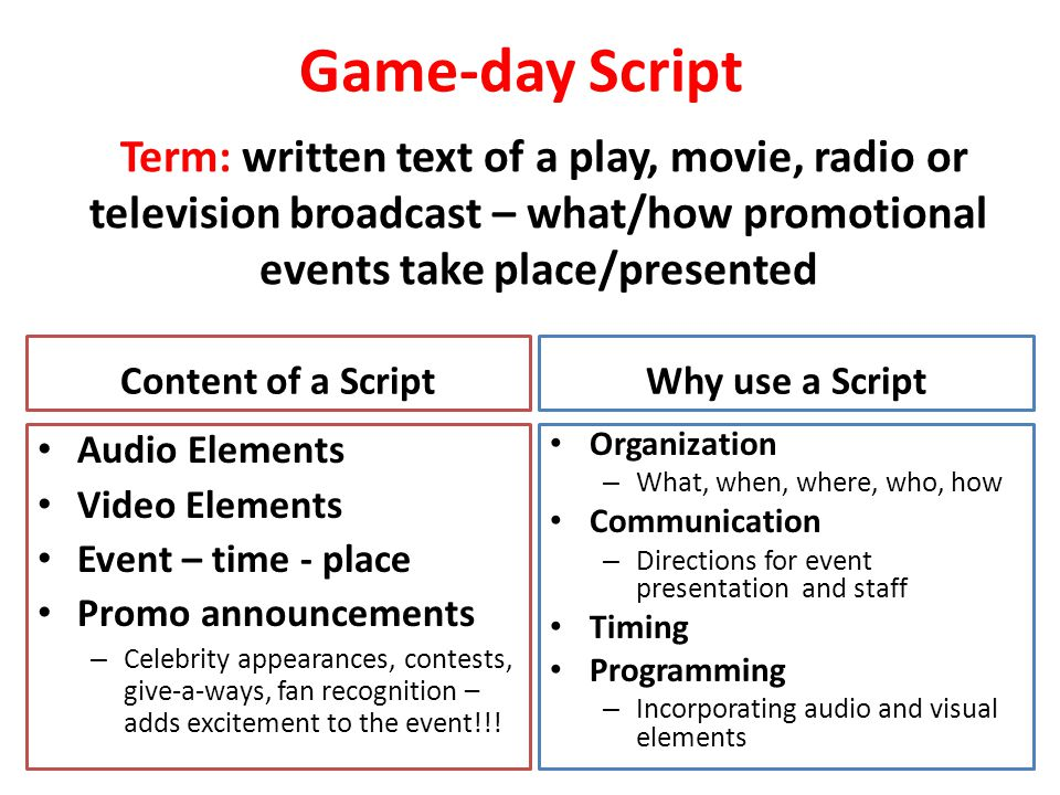 Game-day Script Term: written text of a play, movie, radio or television broadcast – what/how promotional events take place/presented.