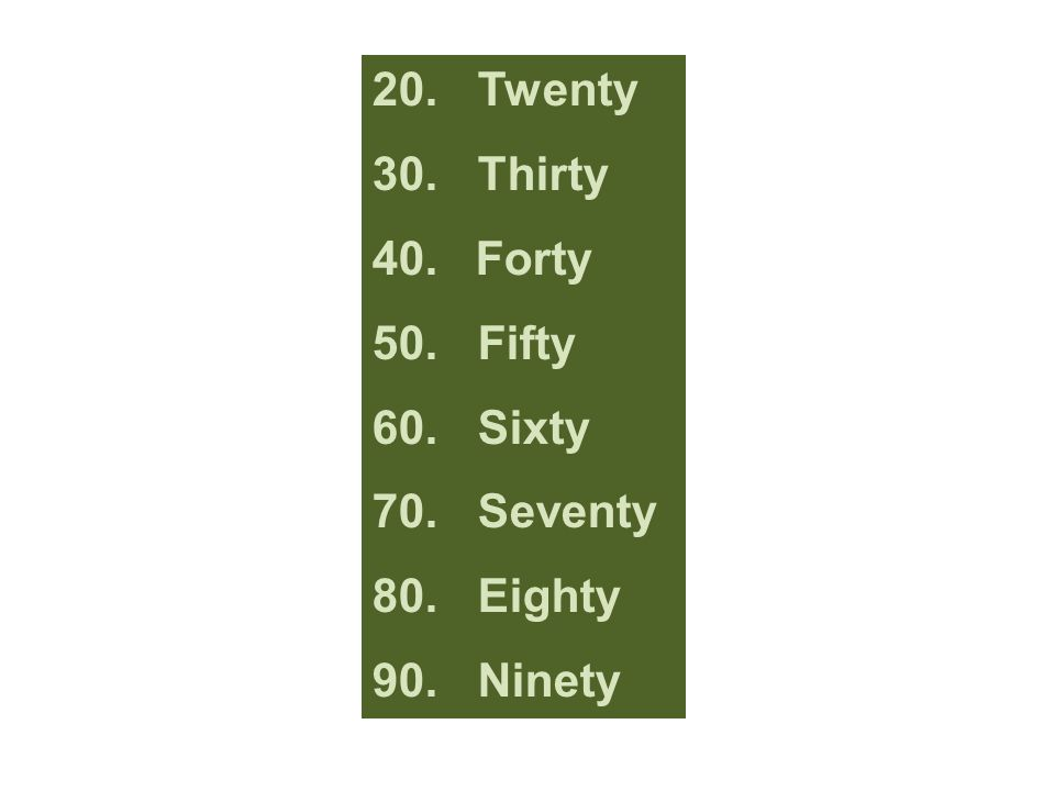 20. Twenty 30. Thirty Forty 50. Fifty 60. Sixty 70. Seventy 80. Eighty 90. Ninety