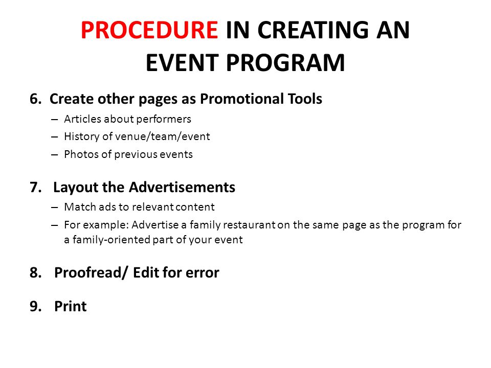 PROCEDURE IN CREATING AN EVENT PROGRAM