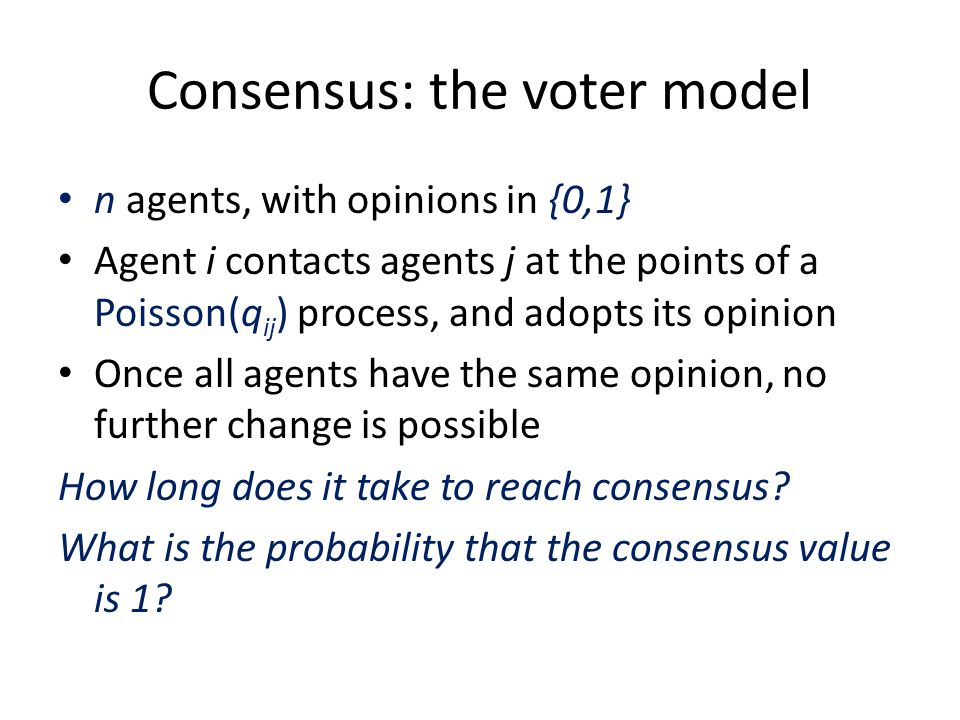 Consensus: the voter model