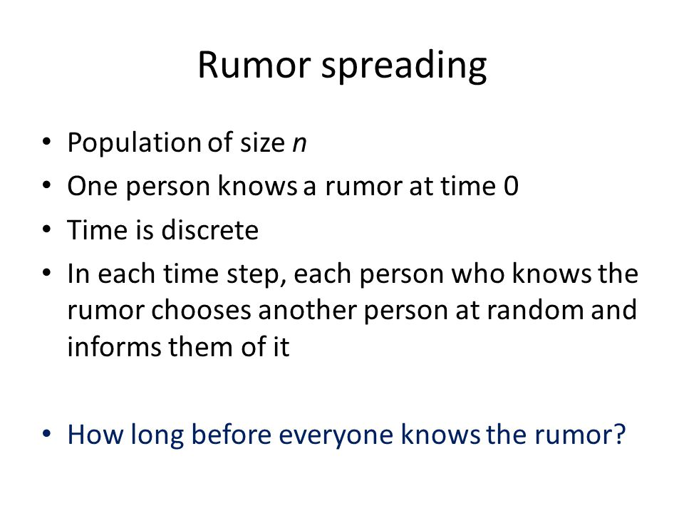 Rumor spreading Population of size n