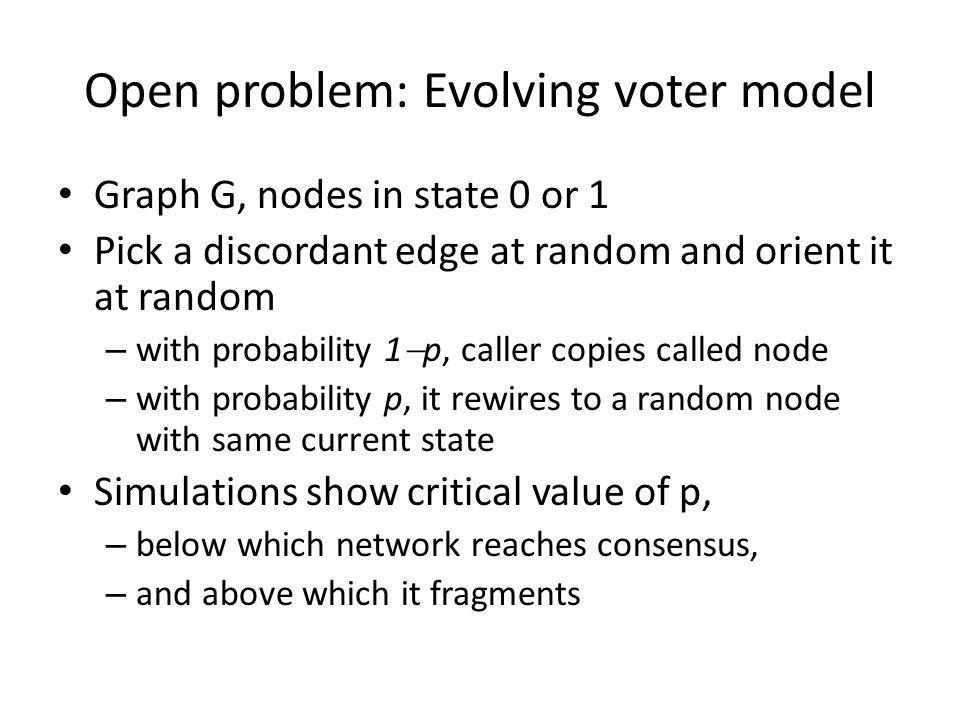 Open problem: Evolving voter model