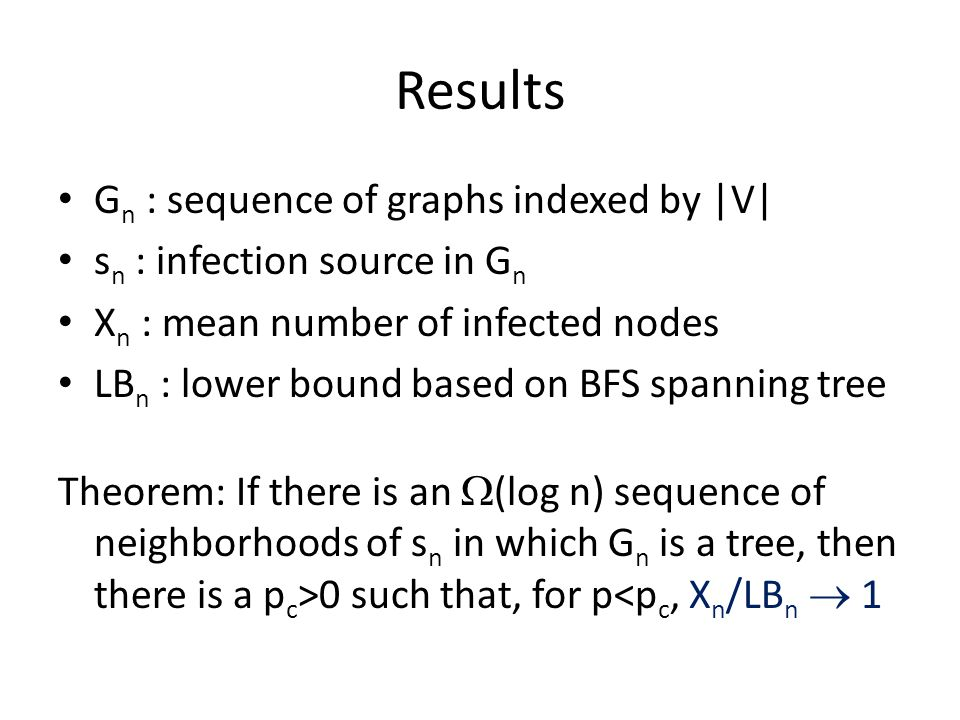 Results Gn : sequence of graphs indexed by |V|