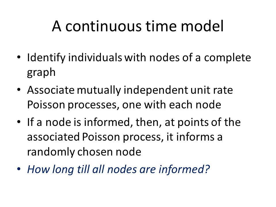 A continuous time model