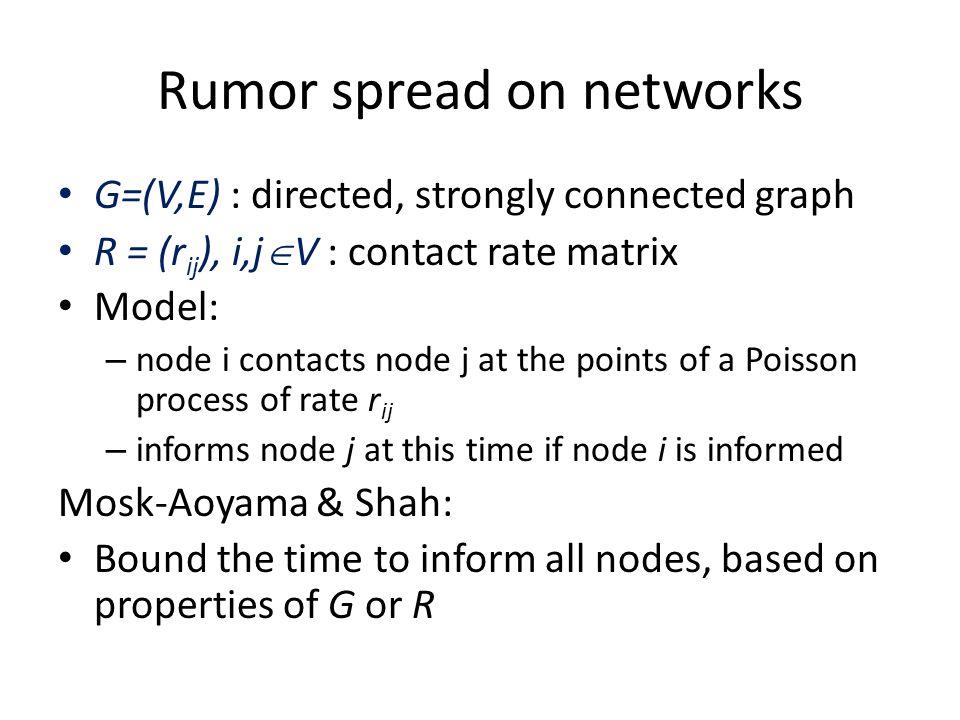 Rumor spread on networks