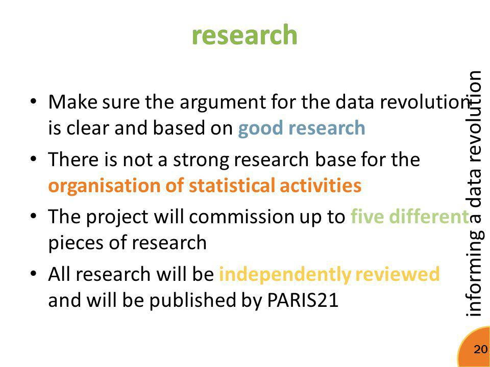 research Make sure the argument for the data revolution is clear and based on good research.