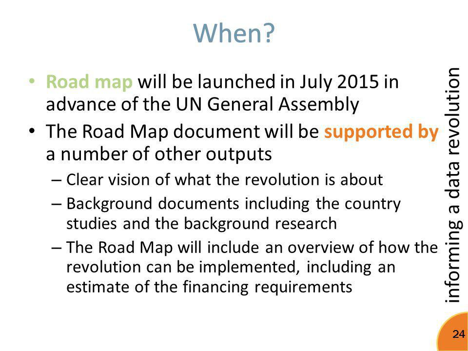 When Road map will be launched in July 2015 in advance of the UN General Assembly.