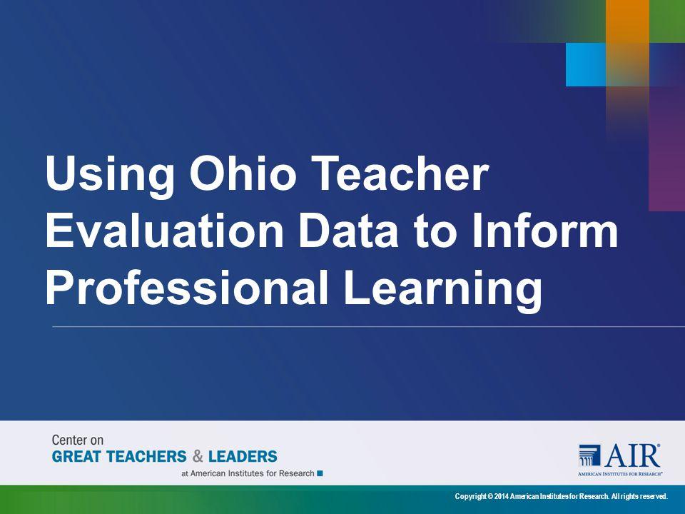 Using Ohio Teacher Evaluation Data to Inform Professional Learning