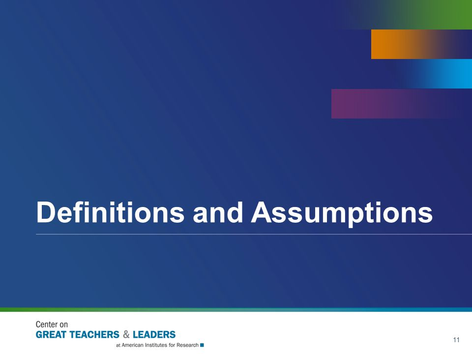 Definitions and Assumptions