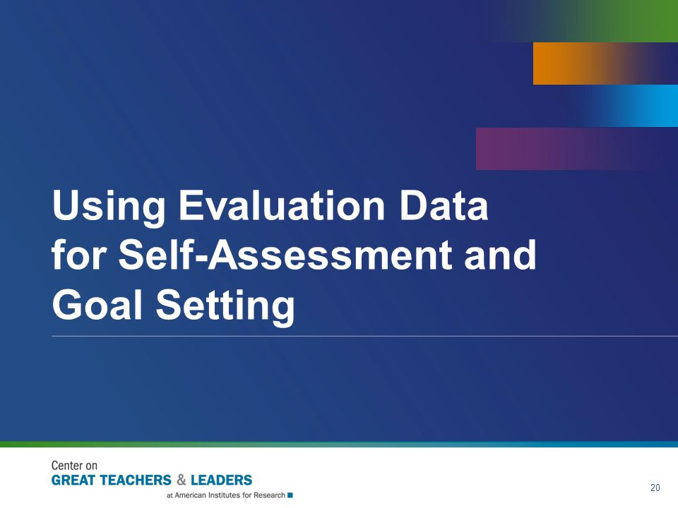 Using Evaluation Data for Self-Assessment and Goal Setting