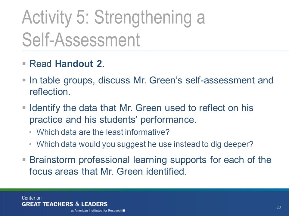 Activity 5: Strengthening a Self-Assessment