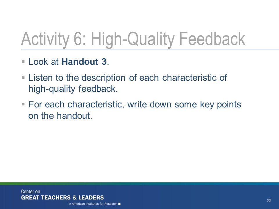 Activity 6: High-Quality Feedback